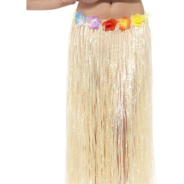 Hawaiian Hula Skirt With Flowers Adult Natural - Hawaiian Luua Mad Fancy Dress