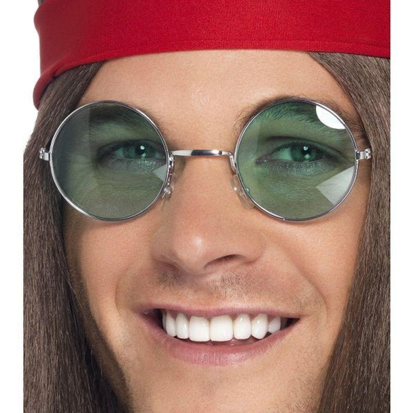 Hippie Specs Adult Silver - 60S Groovy Mad Fancy Dress