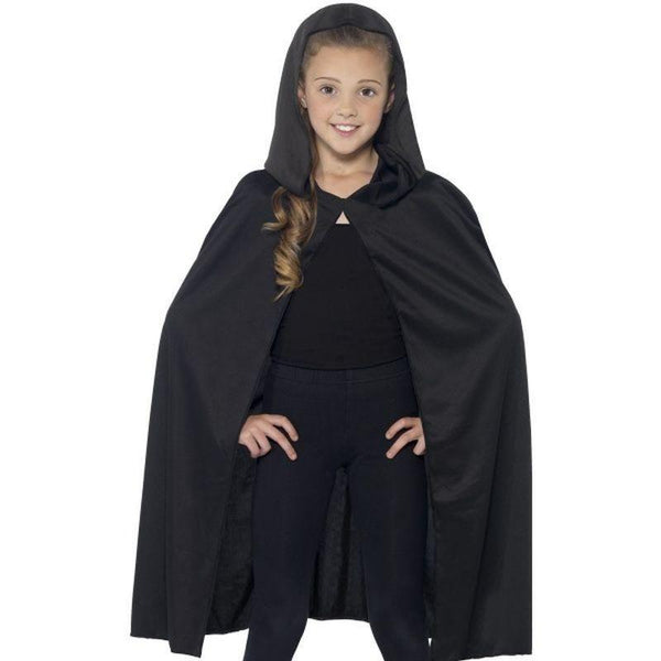 Hooded Cape Kids Black - Halloween Zombie Alley Kidz Mad Fancy Dress
