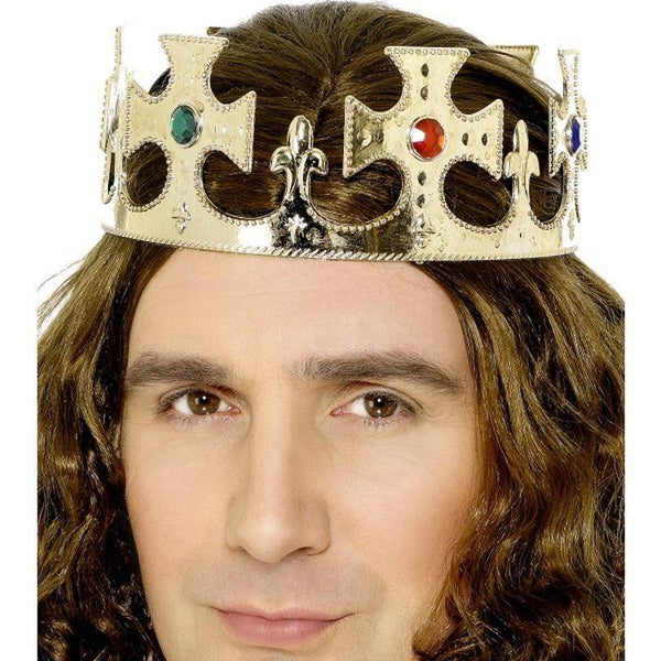 Jewelled Kings Crown Adult Gold - Historical Fancy Dress Mad Fancy Dress