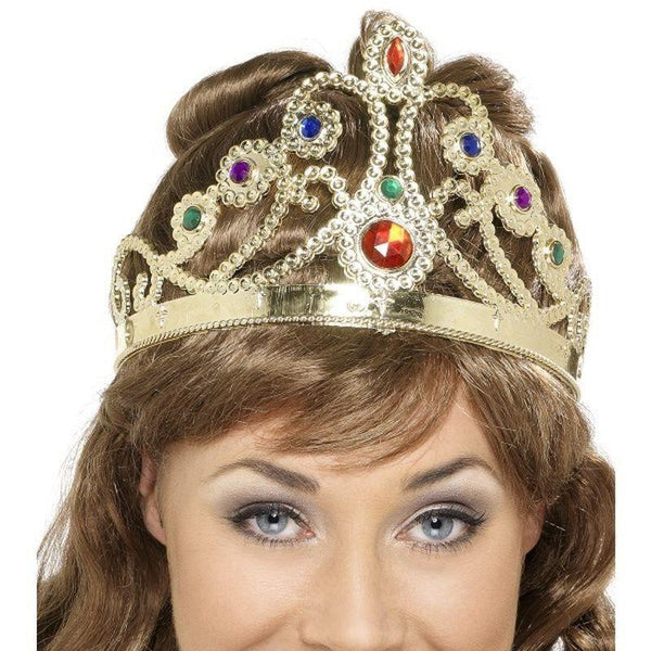 Jewelled Queens Crown Adult Gold - Historical Fancy Dress Mad Fancy Dress