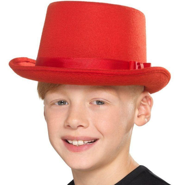 Kids Top Hat Kids Red - Boys Costumes Mad Fancy Dress