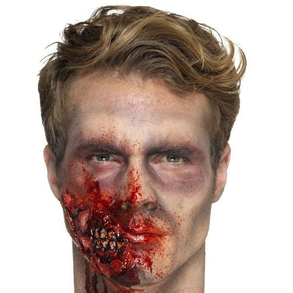Latex Zombie Jaw Prosthetic Adult Red - Cosmetics & Disguises Mad Fancy Dress