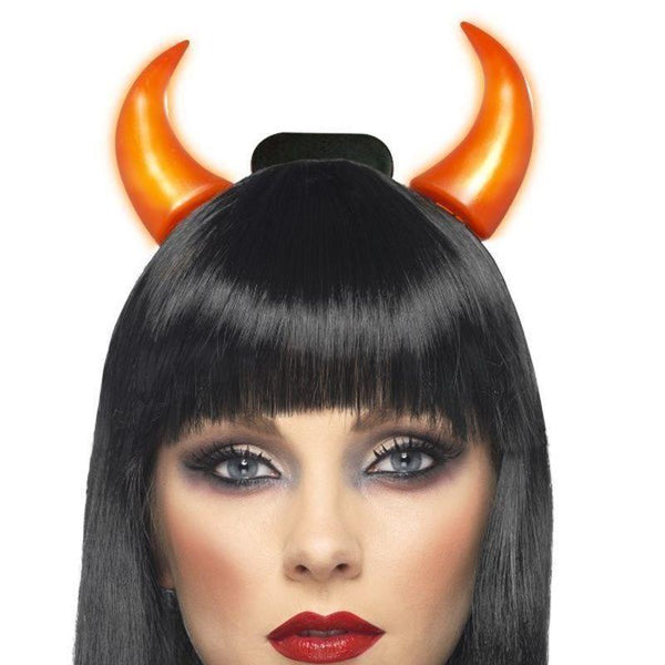 Light Up Devil Horns Adult Red - Halloween Costumes & Accessories Mad Fancy Dress