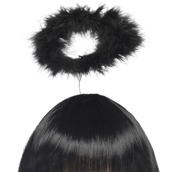 Marabou Angels Halo Adult Black - Saints & Sinners Mad Fancy Dress