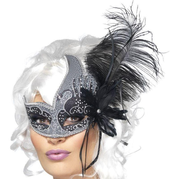Masquerade Dark Angel Eyemask Adult Silver - Halloween Costumes & Accessories Mad Fancy Dress