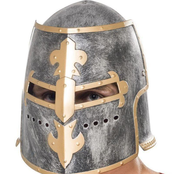 Medieval Crusader Helmet Adult Silver - Historical Fancy Dress Mad Fancy Dress