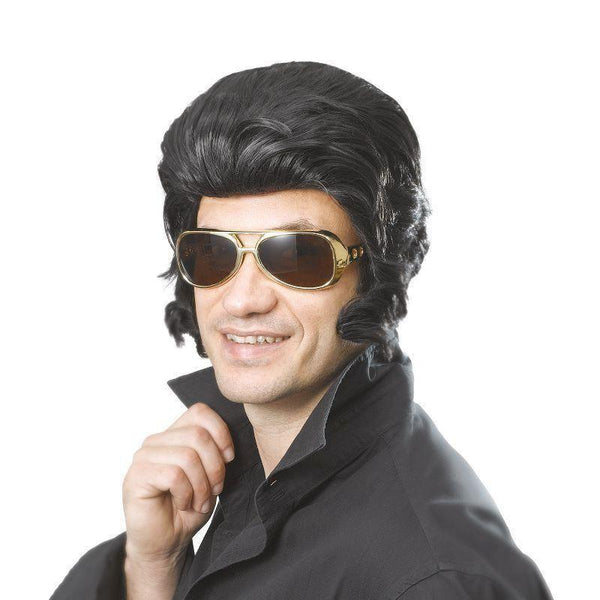 Mens Elvis Wig & Big Sideburns |Wigs| Male One Size Halloween Costume - Mens Wigs Mad Fancy Dress