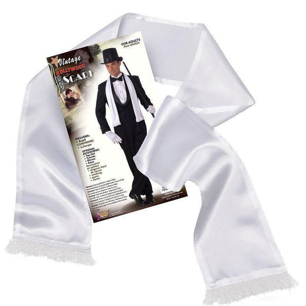 Mens Gangster Scarf White |Costume Accesories| Male One Size Halloween Costume - Costume Accessories Mad Fancy Dress