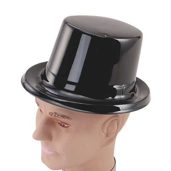 Mens Toppers Black Plastic |Hats| Male Dozen Halloween Costume - Hats Mad Fancy Dress