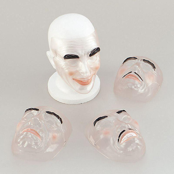 Mens Transparent Male |Plastic Masks / Cardboard Masks| Male Dozen Halloween Costume - Masks Mad Fancy Dress