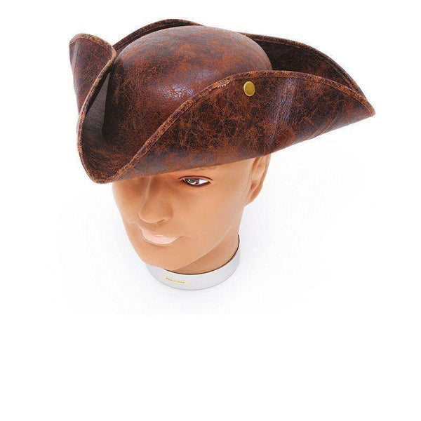 Mens Tricorn Hat Brown Ancient Look |Hats| Male One Size Halloween Costume - Hats Mad Fancy Dress