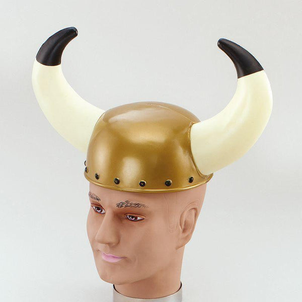 Mens Viking Helmet Plastic/horns |Hats| Male One Size Halloween Costume - Hats Mad Fancy Dress