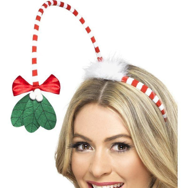 Mistletoe Kisses Headband Adult Red/whte - Christmas Costumes For Men Mad Fancy Dress