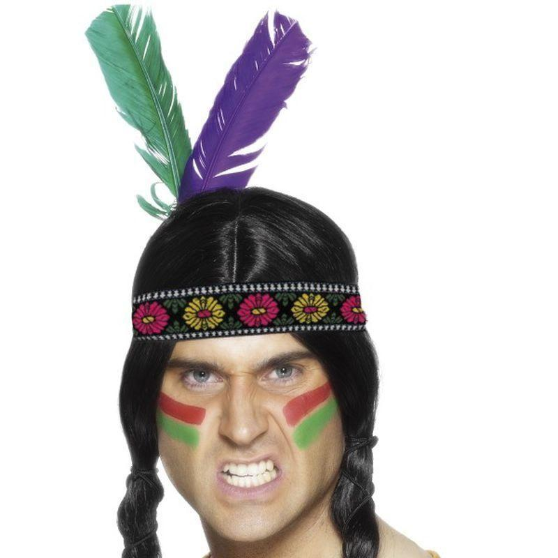 Native American Inspired Feathered Headband Adult Multi - Cowboys & Indians Mad Fancy Dress