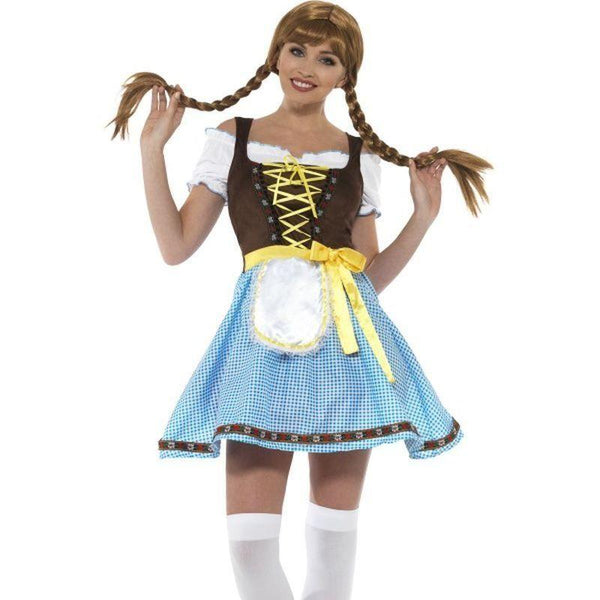 Olga Bavarian Costume Adult Blue/white - Oktoberfest Fancy Dress Mad Fancy Dress