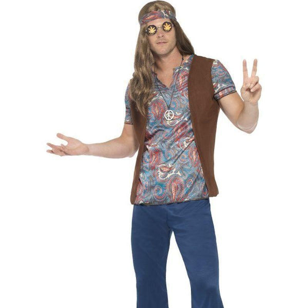 Orion The Hippie Costume Adult Blue - 60S Groovy Mad Fancy Dress
