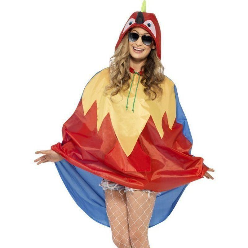 Parrot Party Poncho Adult Red/yellow - Adult Animal Mad Fancy Dress