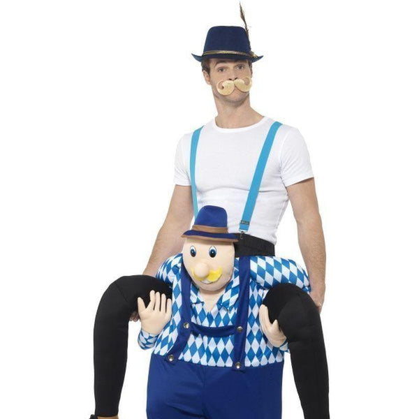 Piggyback Bavarian Costume Adult Blue - Oktoberfest Fancy Dress Mad Fancy Dress
