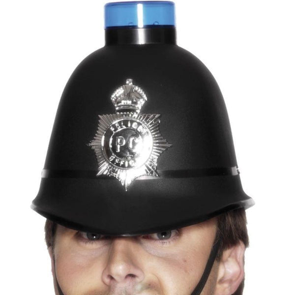 Police Helmet With Flashing Siren Light Adult Black - Cops & Robbers Mad Fancy Dress