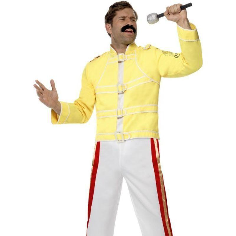 Queen Freddie Mercury Costume Adult Yellow - 70S Disco Mad Fancy Dress