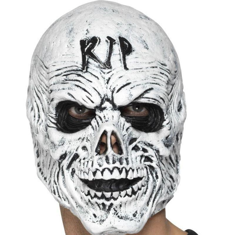 R I P Grim Reaper Mask Foam Latex Adult White - Halloween Costumes & Accessories Mad Fancy Dress