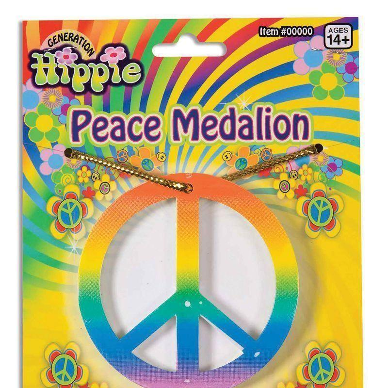 Rainbow Peace Medallion |Costume Accessories| Unisex One Size - Costume Accessories Mad Fancy Dress