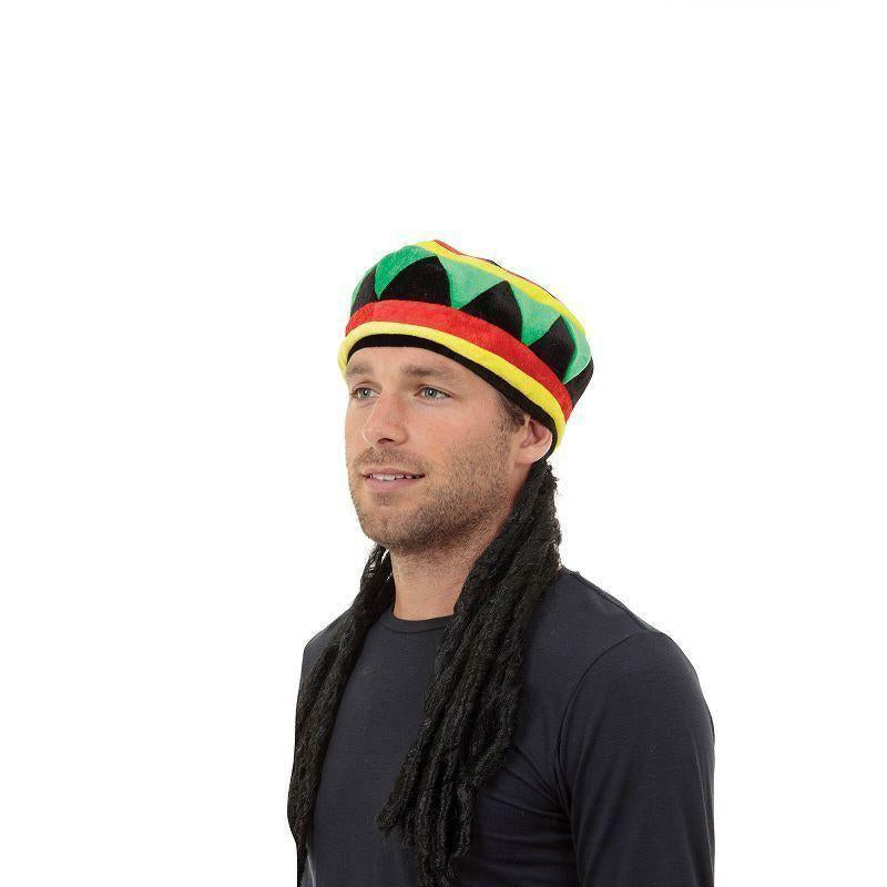 Rasta Hat With Hair |Hats| Unisex One Size - Hats Mad Fancy Dress