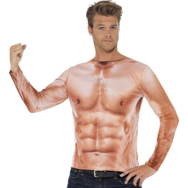 Realistic Muscle Top Adult Pink - Comedy & Clown Mad Fancy Dress