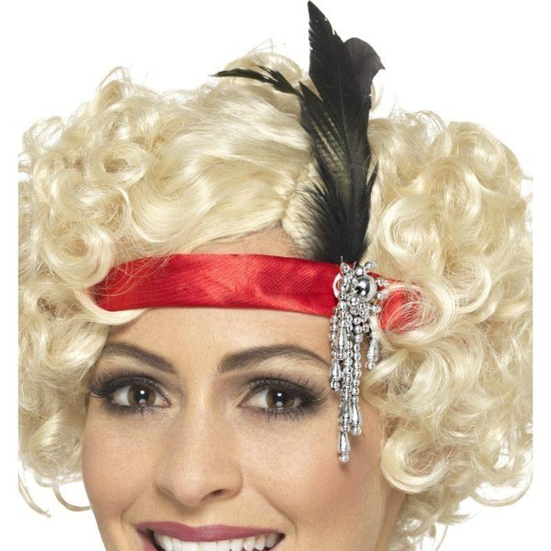 Red Satin Charleston Headband Adult Red - 20S Razzle Mad Fancy Dress