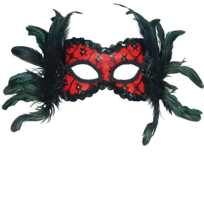 Red/black Mask + Feathers On Hband |Eye Masks| Unisex One Size - Eye Masks Mad Fancy Dress