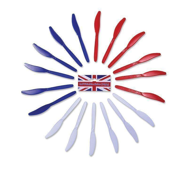 Red/white/blue Knives |Party Goods| Unisex One Size - Party Supplies Mad Fancy Dress