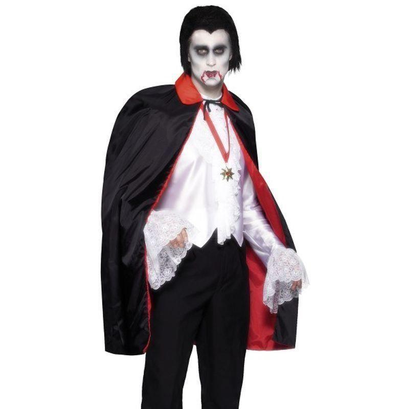 Reversible Cape Adult Black/red - Halloween Costumes & Accessories Mad Fancy Dress