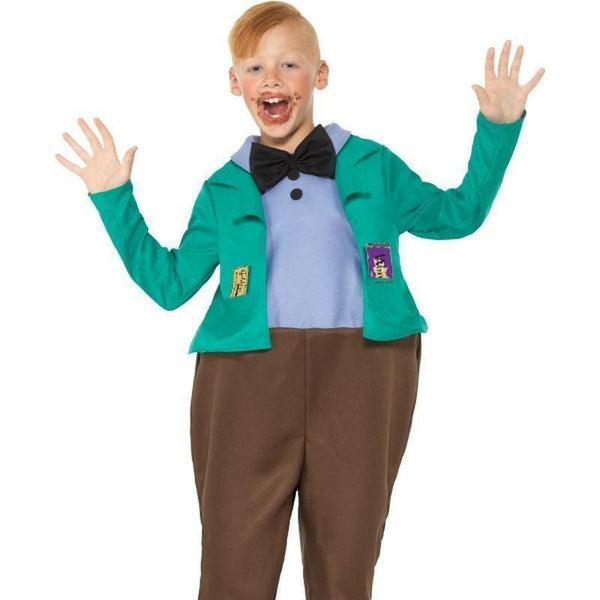 Roald Dahl Deluxe Augustus Gloop Costume Kids Green - Roald Dahl Licensed Fancy Dress Mad Fancy Dress