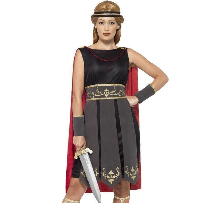Roman Warrior Costume Adult Black - Legends & Myth Mad Fancy Dress