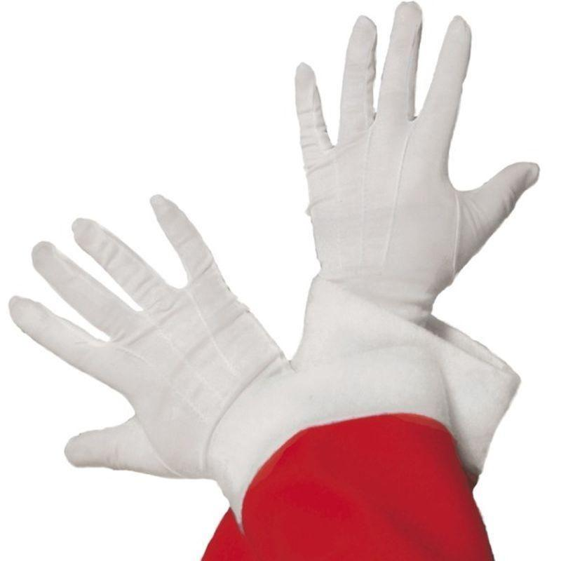 Santa Gloves Adult White - Christmas Costumes For Men Mad Fancy Dress