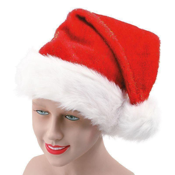 Santa Hat Plush Glitter |Hats| Unisex One Size - Hats Mad Fancy Dress