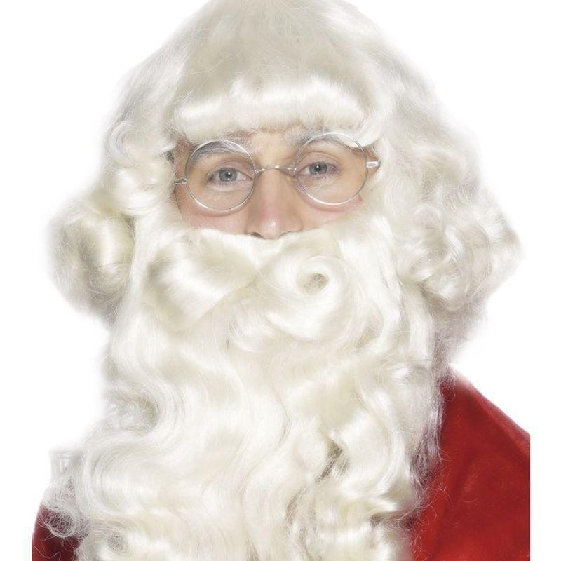 Santa Wig And Beard Set Adult White - Christmas Costumes For Men Mad Fancy Dress