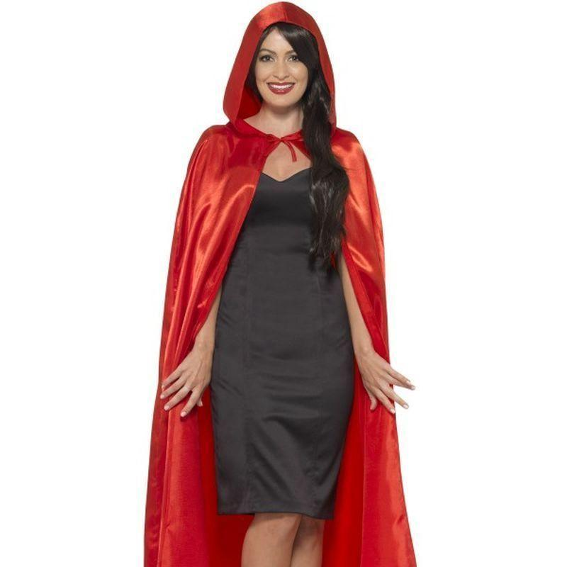 Satin Hooded Cape Adult Red - Faries Wings & Wands Mad Fancy Dress