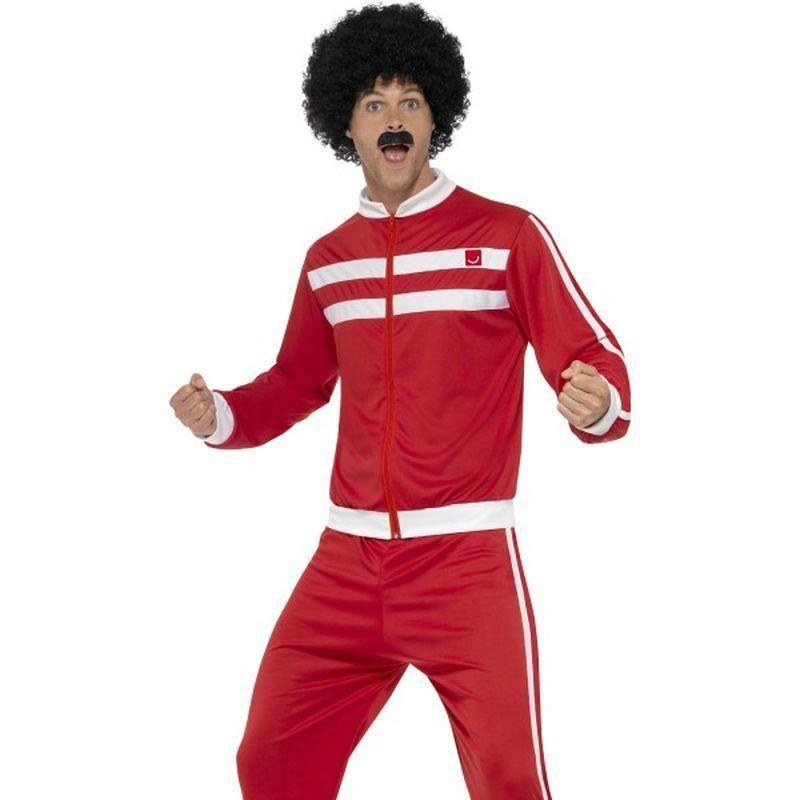 Scouser Tracksuit Adult Red/white - 1980S Mad Fancy Dress