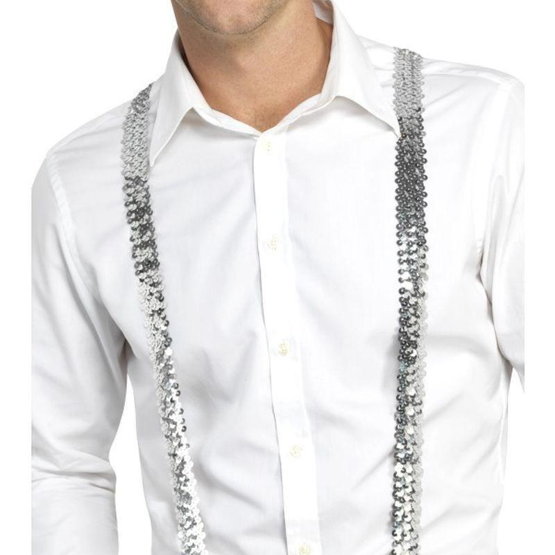Sequin Braces Adult Silver - Party & Carnival Mad Fancy Dress