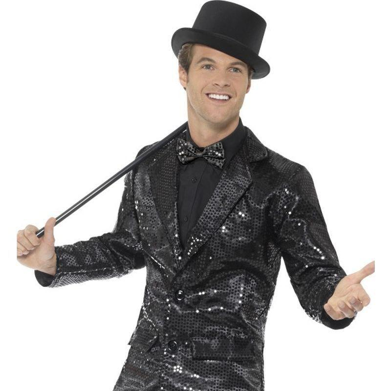 Sequin Jacket Mens Adult Black - Party & Carnival Mad Fancy Dress