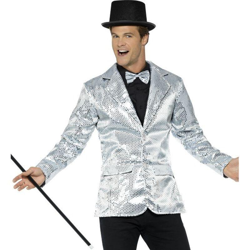 Sequin Jacket Mens Adult Silver - Party & Carnival Mad Fancy Dress