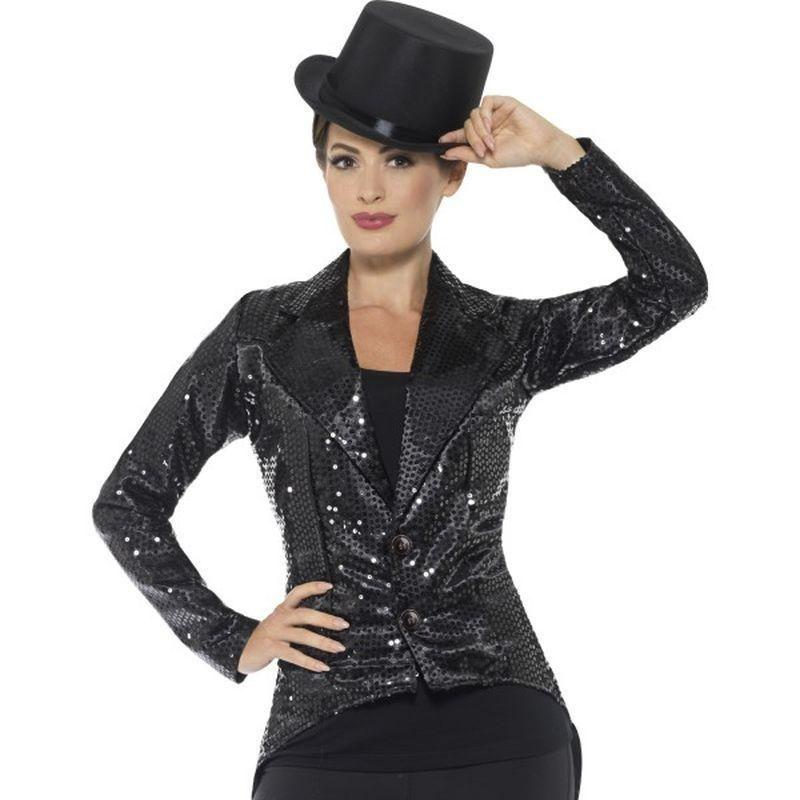 Sequin Tailcoat Jacket Ladies Adult Black - Party & Carnival Mad Fancy Dress