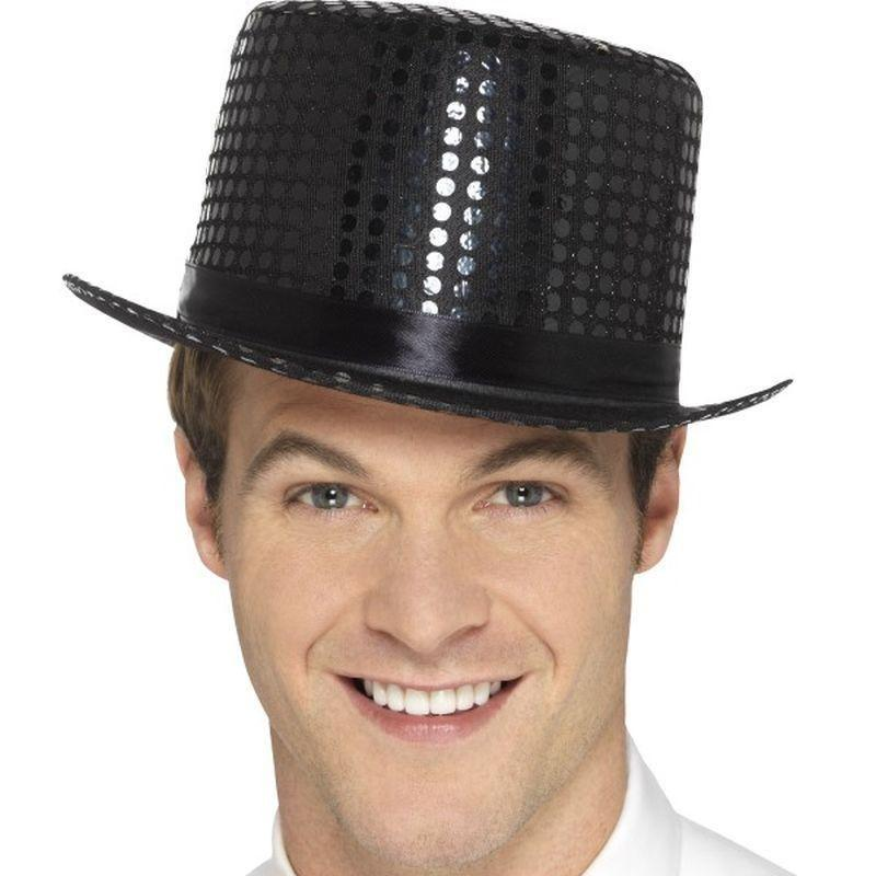 Sequin Top Hat Adult Black - Party & Carnival Mad Fancy Dress