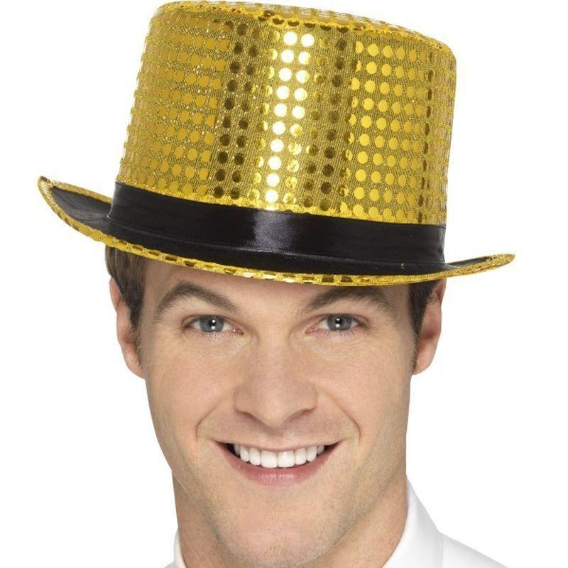 Sequin Top Hat Adult Gold - Party & Carnival Mad Fancy Dress
