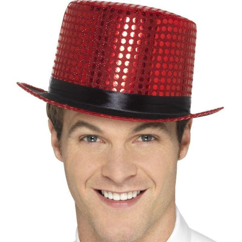 Sequin Top Hat Adult Red - Party & Carnival Mad Fancy Dress