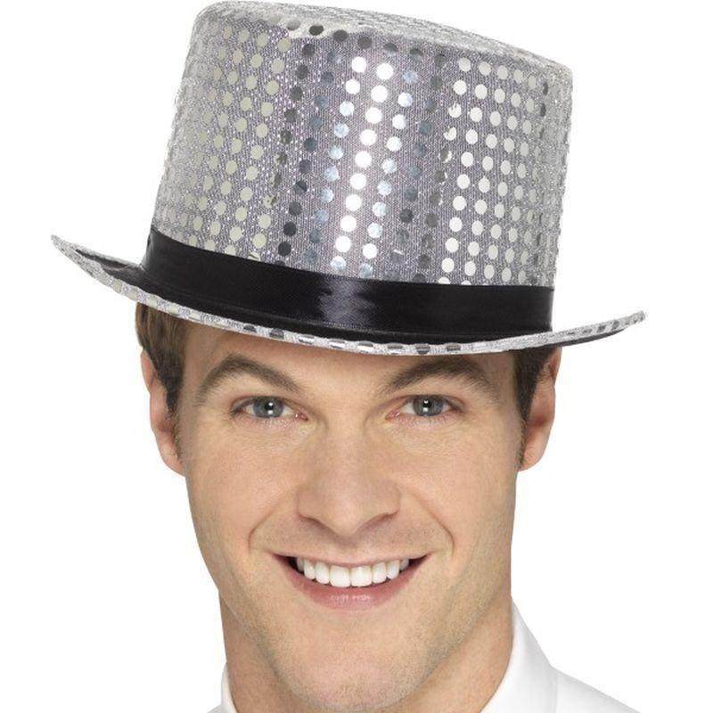 Sequin Top Hat Adult Silver - Party & Carnival Mad Fancy Dress