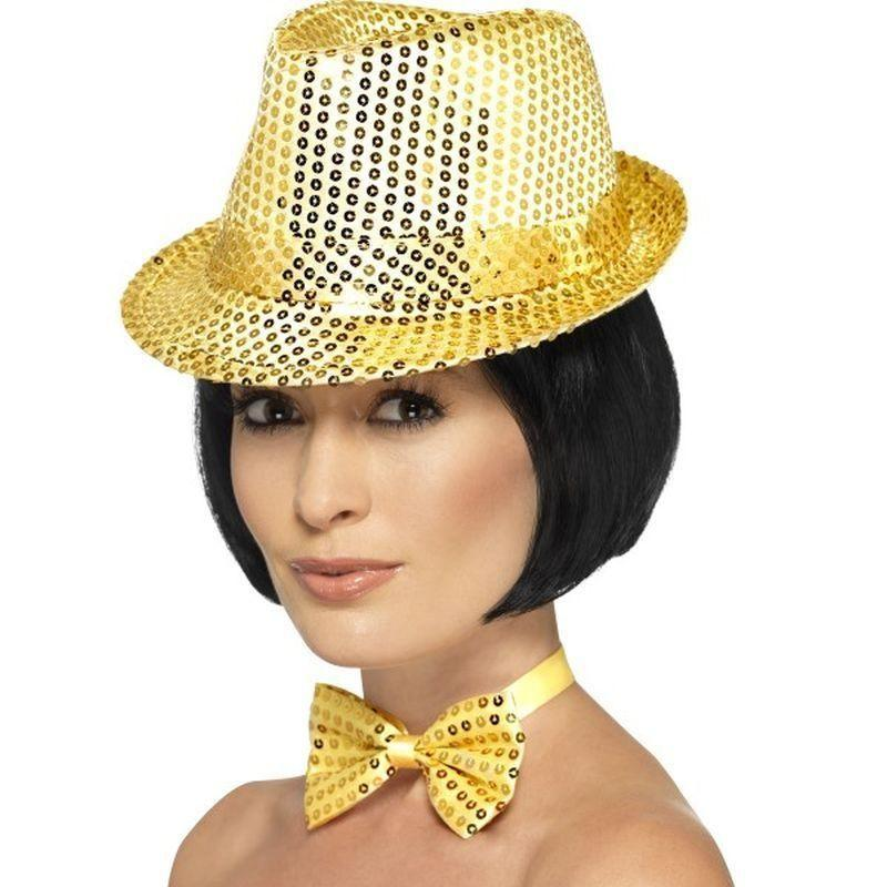 Sequin Trilby Hat Adult Gold - Funnyside Fancy Dress Mad Fancy Dress