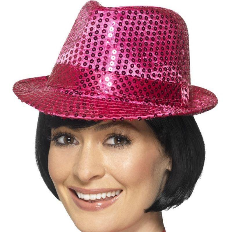 Sequin Trilby Hat Adult Pink - Funnyside Fancy Dress Mad Fancy Dress